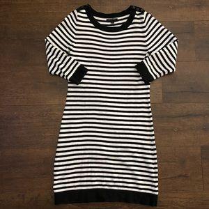 Banana Republic Black White Striped Sweater Dress